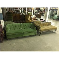 GREEN COUCH, CHAISE LOUNGE & DAMAGED PROP CHAIR