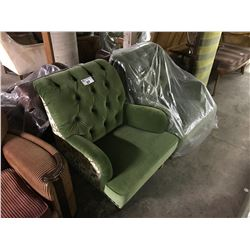 PAIR OF GREEN ARM CHAIRS
