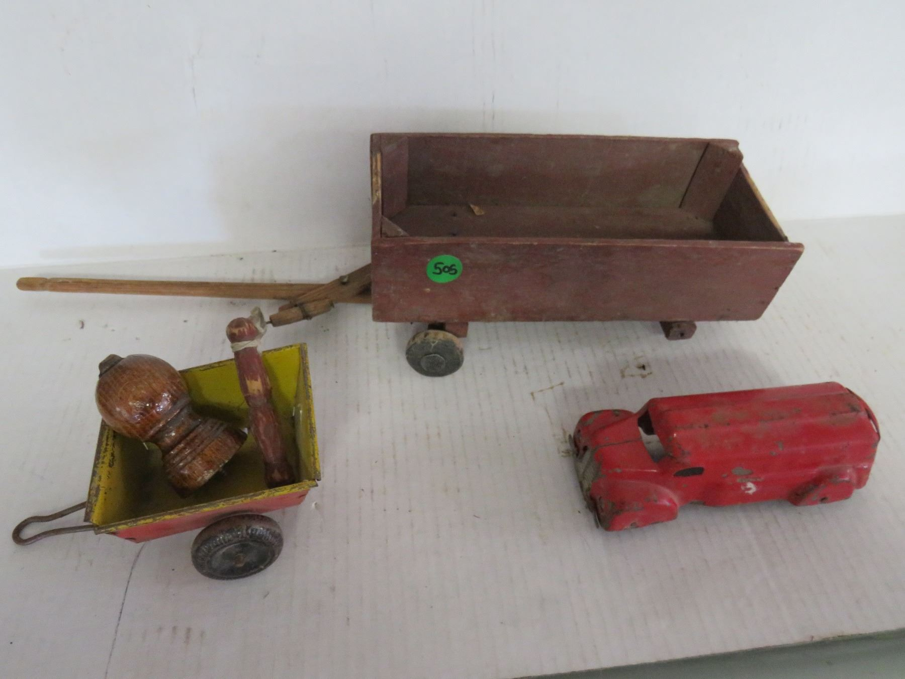 Antique Toy Wooden Wagon Missing Wheel Tin Toy Truck Original Missing Wheel Tin Toy Wagon