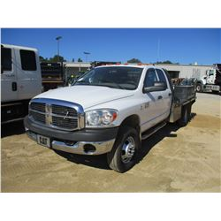 2008 DODGE RAM 3500 FLATBED, VIN/SN:3D6WH48A086101614 - CREW CAB, CUMMINS TURBO DIESEL ENGINE, A/T,