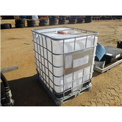 350 GALLON PLASTIC CONTAINER W/ METAL CAGE, (B9)
