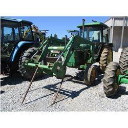 JOHN DEERE 2140 FARM TRACTOR, VIN/SN:435988 - 2 REMOTES, JOHN DEERE 620 FRONT LOADER W/HAY SPEAR, CA