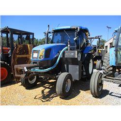 "NEW HOLLAND TS115A FARM TRACTOR, - 2 REMOTES, ALAMO BOOM MOWER, 5'-6"" CUT, A/C, METER READING 3974 H"