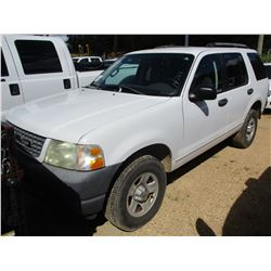 2003 FORD EXPLORER SUV, VIN/SN:1FMZU6ZK13UB51662 - GAS ENGINE, A/T, ODOMETER READING 133,405 MILES (