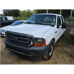 2001 FORD F250 PICKUP, VIN/SN:1FTNW20L91EC37696 - CREW CAB, V8 GAS ENGINE, A/T, ODOMETER READING 196