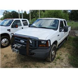 2001 FORD F250 PICKUP, VIN/SN:1FTSW21P116ED42700 - 4X4, CREW CAB, POWER STROKE DIESEL ENGINE, A/T, W