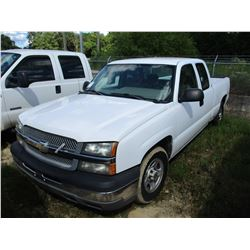 2004 CHEVROLET SILVERADO PICK UP, VIN/SN:1GCEC19X34Z296779 - EXT CAB, GAS ENGINE, A/T, ODOMETER READ
