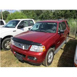 2004 FORD EXPLORER VIN/SN:1FMZU63K446B08126 - GAS ENGINE, A/T, ODOMETER READING 175,584 MILES (TITLE