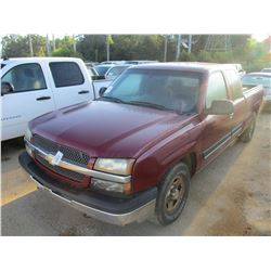 2004 1500 PICK UP, VIN/SN:2GCEC19T641282901 - EXTENDED CAB, GAS ENGINE, A/T, ODOMETER READING 204,02