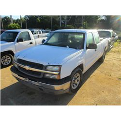 2005 CHEVROLET 1500 PICK UP, VIN/SN:2GCEC19V151230238 - EXTENDED CAB, GAS ENGINE, A/T, ODOMETER READ