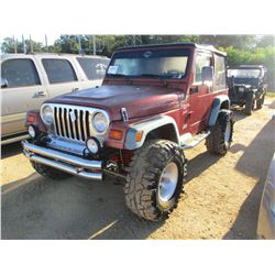 1999 JEEP WRANGLER VIN/SN:1J4FY19S1XP418222 - 4X4, CANVAS TOP, 4.0L GAS ENGINE, 5 SPEED TRANS, ODOME