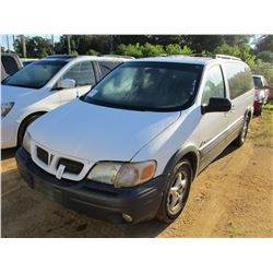 2003 PONTIAC MONTANA MINI VAN, VIN/SN:1GMDX03E93D235008 - GAS ENGINE, A/T, ODOMETER READING 167,715