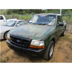 1999 FORD RANGER XLT PICKUP, VIN/SN:1FTVR15X5XP134870 - 4X4, EXT CAB, GAS ENGINE, A/T, ODOMETER READ