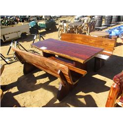 "78"" TEAK WOOD TABLE W/2 BENCH (C6)"