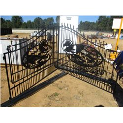 16' IRON GATE W/POST, WILD HORSE SCENE, (C6)