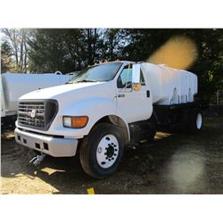 2002 FORD F650 WATER TRUCK, VIN/SN:3FDWF65H92MA27655 - S/A, CAT DIESEL ENGINE, 6 SPEED TRANS, 12' FL