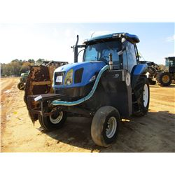 NEW HOLLAND TS115A FARM TRACTOR, - (2) REMOTES, ALAMO BOOM MOWER, CAB, A/C, METER READING 3974 HOURS