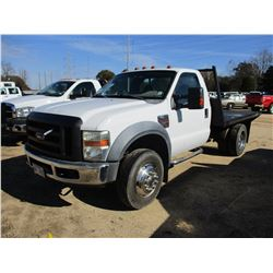 2008 FORD F450 FLATBED, VIN/SN:1FDXF46R68EB81187 - FORD POWERSTROKE DIESEL ENGINE, A/T, 9' FLATBED B