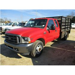 2002 FORD F350 FLATBED, VIN/SN:1FDWX36592ED64290 - EXTENDED CAB, V10 GAS ENGINE, A/T, 10' FLATBED BO