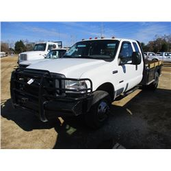 2006 FORD F350 FLATBED TRUCK, VIN/SN:1FDWX37PX6ED21111 - 4X4, EXT CAB, POWERSTROKE DIESEL, A/T, ODOM