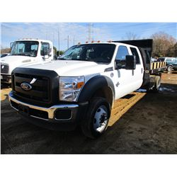2016 FORD F550 FLATBED DUMP TRUCK, VIN/SN:1FD0W5HT3GED30945 - S/A, CREW CAB, POWER STROKE DIESEL ENG