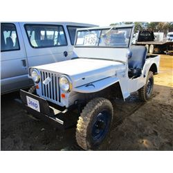 WILLIS JEEP - 4X4, GAS ENGINE, 4 SPEED TRANS