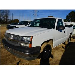 2004 CHEVROLET SILVERADO PICK UP, VIN/SN:1GCEK14V74Z297359 - 4X4, GAS ENGINE, A/T, ODOMETER READING