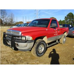 1999 DODGE RAM PICK UP, VIN/SN:3B7HF16Y3XM594062 - V8 GAS ENGINE, A/T, ODOMETER READING 226,706 MILE