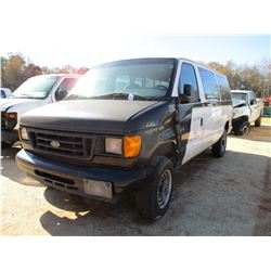 2007 FORD PASSENGER VAN, VIN/SN:1FBNE31L270A25992 - GAS ENGINE, A/T (DOES NOT OPERATE) (COUNTY OWNED