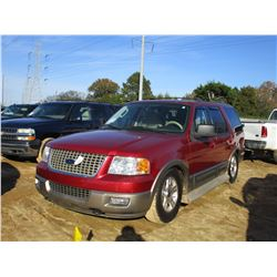 2004 FORD EXPEDITION VIN/SN:1FMFU18L34LA36686 - 4X4, GAS ENGINE, A/T, ODOMETER READING 187,718 MILES
