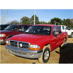 2002 DODGE DAKOTA PICK UP, VIN/SN:1B7HL48NX2S504600 - CREWCAB, GAS ENGINE, A/T, BED COVER, ODOMETER