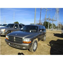 2003 DODGE DURANGO SUV, VIN/SN:1D4HR38N43F585857 - GAS ENGINE, A/T, ODOMETER READING 143,359 MILES