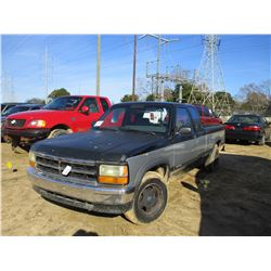 1993 DODGE DAKOTA PICK UP, VIN/SN:1B7FL23X2PS271078 - EXT CAB, GAS ENGINE, A/T, ODOMETER READING 197