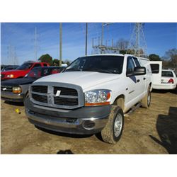 2006 DODGE RAM 2500 PICK UP, VIN/SN:1D7KS28D16J154103 - 4X4, CREW CAB, GAS ENGINE, A/T, ODOMETER REA