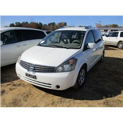 2008 NISSAN QUEST VIN/SN:5N1BV28U98N122900 - GAS ENGINE, A/T, ODOMETER READING 274,459 MILES