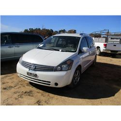 2009 NISSAN QUEST VIN/SN:5N1BV28U59N104539 - GAS ENGINE, A/T, ODOMETER READING 266,989 MILES