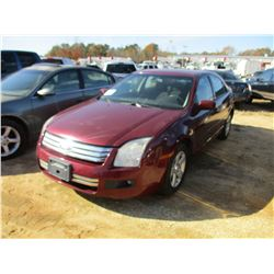 2007 FORD FUSION VIN/SN:3FAHP07197R225465 - V6 GAS, A/T, ODOMETER READING 156,634 MILES