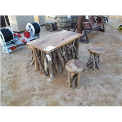 TEAK WOOD TABLE W/4 STOOLS (C-6)