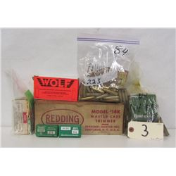 BOX LOT OF RELOADING SUPPLIES AND BRASS