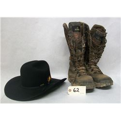 USED BOOTS AND HAT