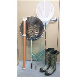 FISHING NETS, BOOTS AND ROD HOLDER.