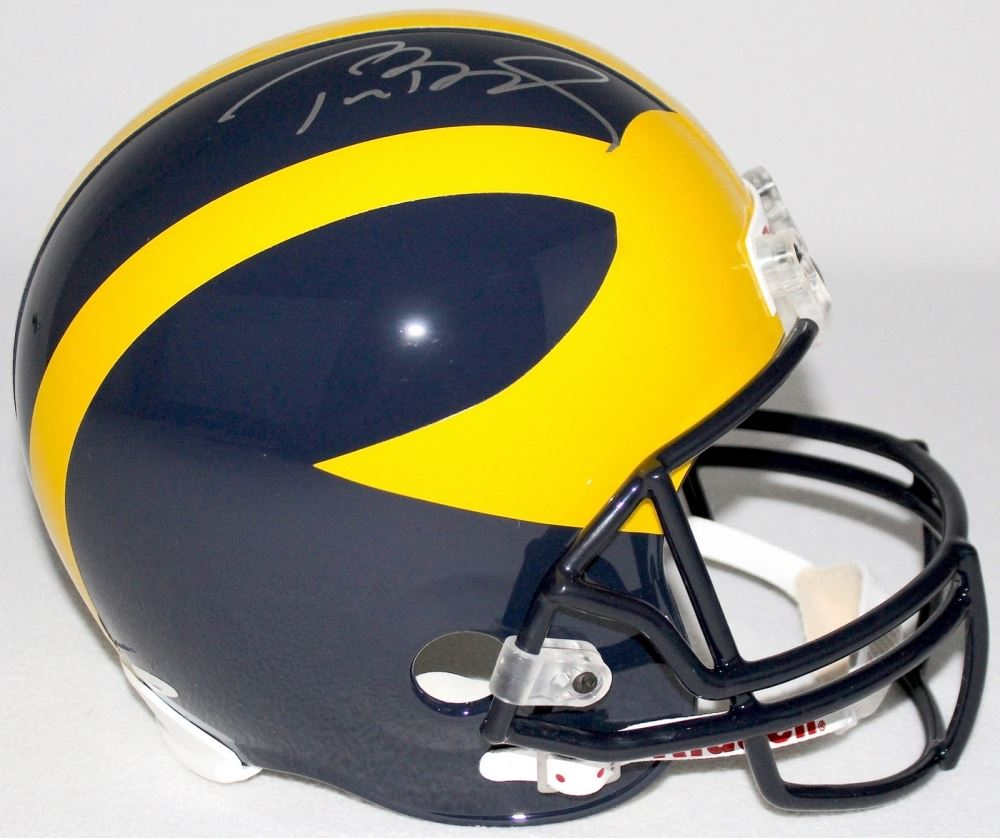 7d8d0701fe0 Image 1   Tom Brady Signed Michigan Wolverines Full-Size Helmet (Tristar COA )