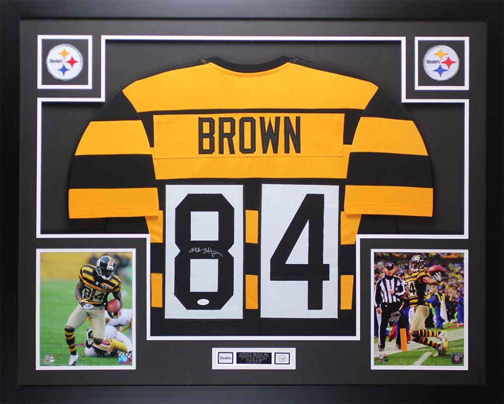 wholesale dealer 7c7e7 ebd78 Antonio Brown Signed 35x43 Custom Framed Throwback ...