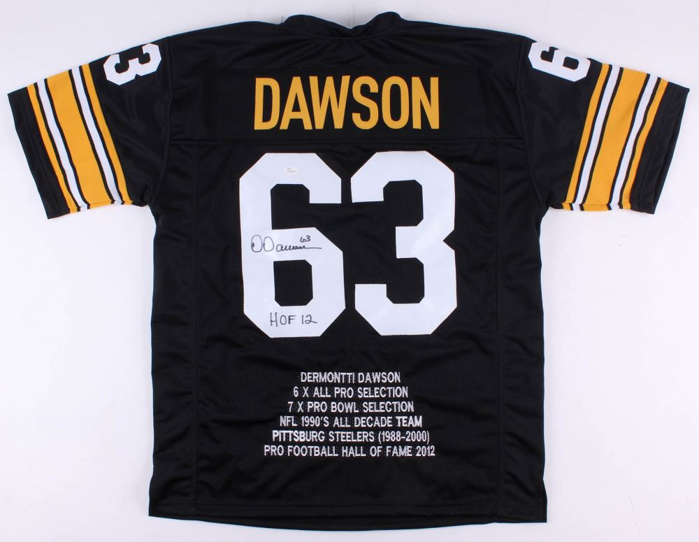 864ea203da1 Image 1   Dermontti Dawson Signed Steelers Career Highlight Stat Jersey  Inscribed