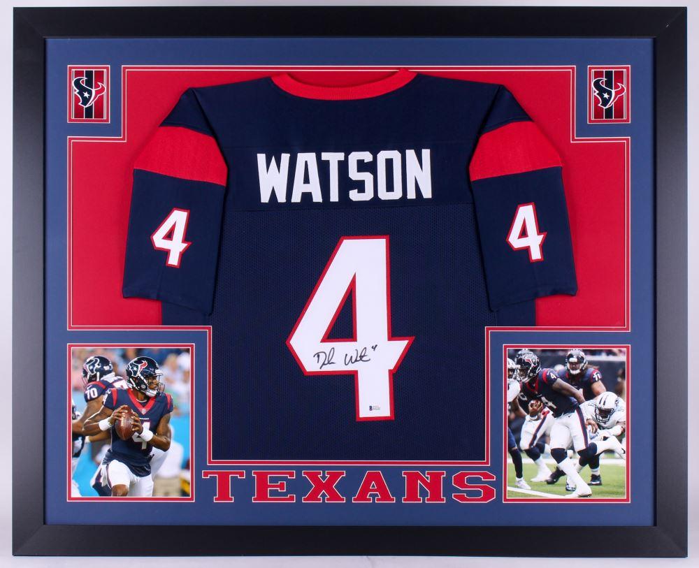 ae841e9b8f7 Image 1   Deshaun Watson Signed Texans 35x43 Custom Framed Jersey (Beckett  COA)