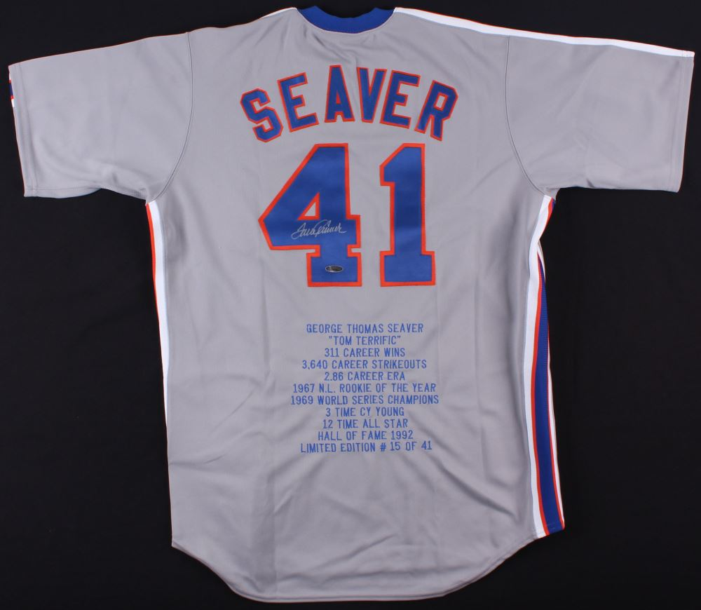 hot sale online e7e1e 96cb9 Tom Seaver Signed Mets Career Highlight Stats Jersey ...