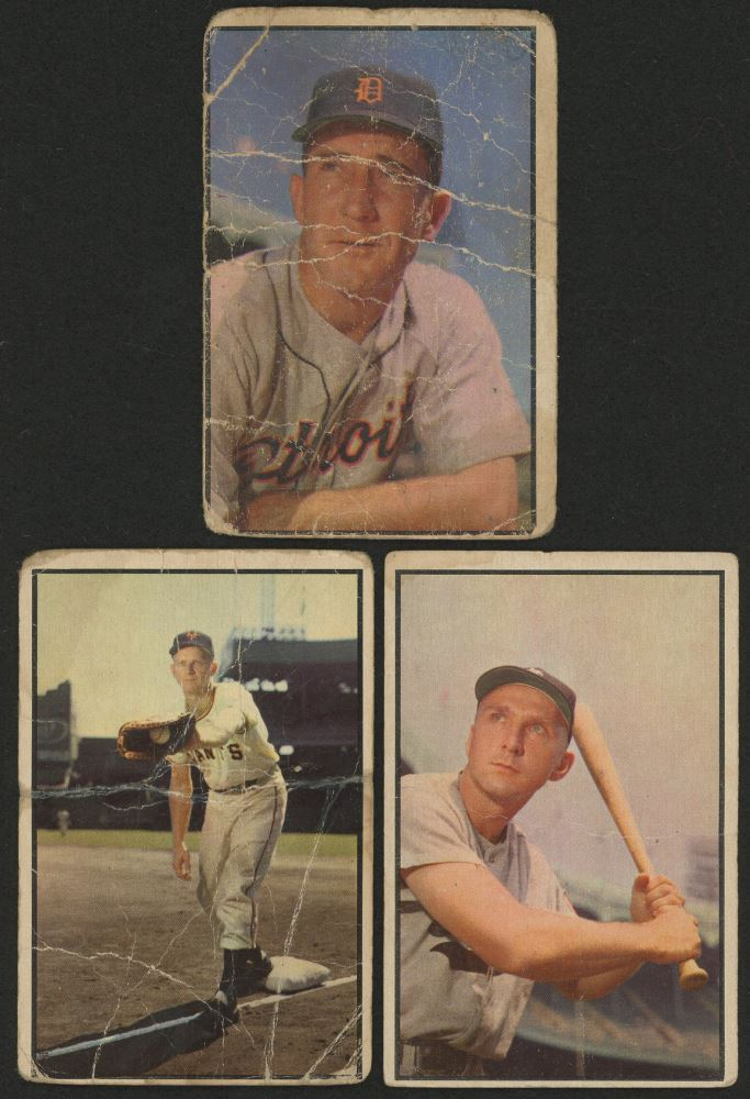 Lot Of 3 1953 Bowman Color Baseball Cards With 128 Whitey Lockman