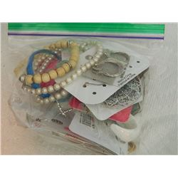 ASSORTED NEW & USED JEWELRY - EARRINGS, BRACELET & NECKLACE - 12 PC