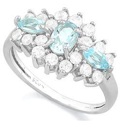 RING - 1/3CT AQUAMARINE & 3/4 CT BABY SWISS BLUE TOPAZ & 2 GENUINE DIAMONDS & 2 CREATED DIAMONDS IN
