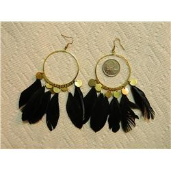 EARRINGS - LARGE HOOP WITH FEATHERS